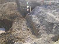 地盤確認・杭の施工状況の確認の様子